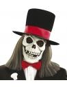 Masque squelette avec Haut de forme en velours et cheveux longs