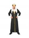 Déguisement Sultan Garçon noir et blanc (robe avec manteau, couvre-tete)