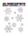 Décoration de fenêtres, 11 Flocons de neige blanc pailleté