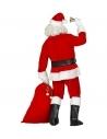 Costume Père Noël pour pros (veste, pantalon, ceinture, chapeau, barbe, lunettes, couvre - bottes, sac)