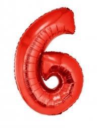 Ballon aluminium rouge chiffre -6- 102cm