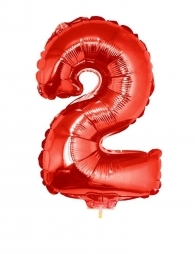 Ballon aluminium rouge chiffre -2- 41 cm