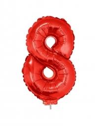 Ballon aluminium rouge chiffre -8- 41 cm