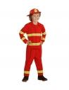 Déguisement Pompier Enfant  rouge (veste, pantalon, casque)