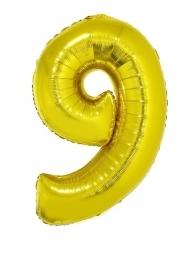 Ballon aluminium OR chiffre -9- taille 102cm