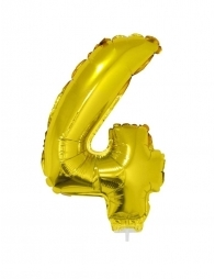 Ballon aluminium avec baton OR chiffre -4- taille 41cm