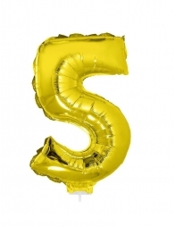 Ballon aluminium avec baton OR chiffre -5- taille 41 cm.