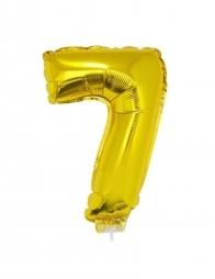 Ballon aluminium avec baton OR chiffre -7- taille 41cm