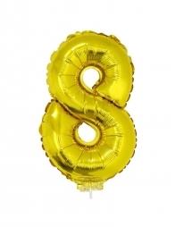 Ballon aluminium avec baton OR chiffre -8- taille 41cm