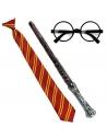 Set Apprenti Magicien Orange et jaune (lunettes rondes, cravate et baguette magique)