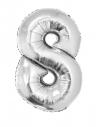 Ballon métallisé argenté chiffre-8- taille 80cm