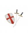 Set de chevalier rouge (bouclier, épée et hache)