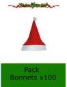Bonnet de Noël en Feutrine Rouge - 1er prix - Pack x100
