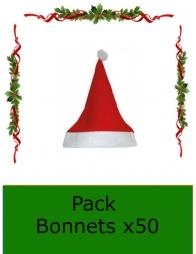 Bonnet de Noël  Rouge - 1er prix - Pack x 50