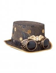 Chapeau Steampunk avec lunettes - 60 cm