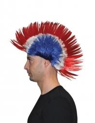 Perruque Punk, bleu, blanc, rouge - France