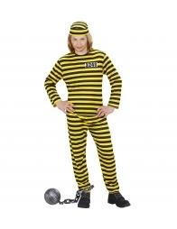 Déguisement Prisonnier Enfant jaune et noir (haut, pantalon, calot)