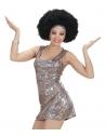 Déguisement disco femme (robe holographique courte, argent)