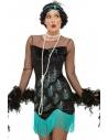 Déguisement années 20, charleston femme, vert et bleu (robe et bandeau)