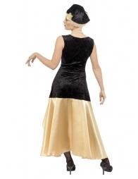 Déguisement rétro femme, années 20', noir et or (robe, chapeau et collier)