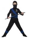 Déguisement enfant Ninja noir et bleu (cagoule, haut et pantalon)