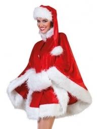 Déguisement Père Noël Femme (cape, bonnet et cache mains)