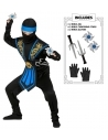 Déguisement Ninja enfant, bleu et noir avec armes