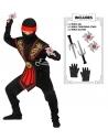 Déguisement Ninja garçon, rouge et noir avec armes