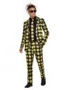 Costume Sexy Homme, motif SMILEY© noir et jaune (veste, pantalon, et cravate)