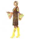 Déguisement Hippie, femme (robe, gilet imprimé' et bandeau)