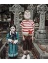 Déguisement de Pugsley de la Famille Addams, Bordeaux (haut, pantalon et perruque)