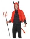 Kit Diable Rouge Adulte (cape avec capuche corne, queue rouge)