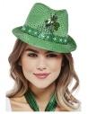 Chapeau Saint-Patrick vert à LED à motifs de trèfle irlandais et multifonctions
