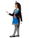 Déguisement fille chapelier fou (Robe, le gilet, le foulard et le chapeau haut de forme)