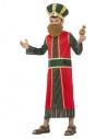 Déguisement roi Gaspard garçon (robe et coiffe rembourrés, barbe, ceinture et bouteille d'encens)