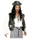 Déguisement Pirate Noir et Blanc Homme (gilet, chapeau, ceinture)