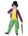 Costume enfant licence Willy Wonka Roald Dahl (haut, pantalon, noeud papillon, chapeau et canne)