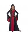Déguisement vampiresse fille (robe rouge et noire à capuche)| Déguisement Enfant