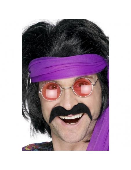 Moustaches 70's noires auto-adhésives   Accessoires