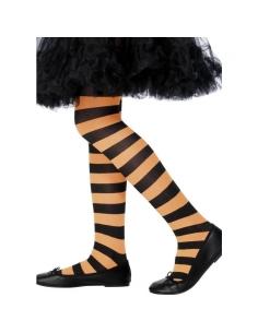 Collants sorcière enfant orange/noir 6/10 ans   Accessoires