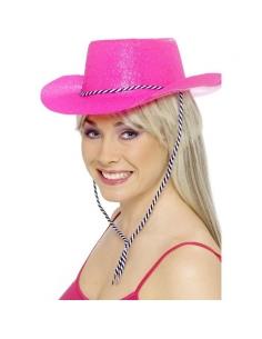 Chapeau de cow-boy pailleté fuchsia fluo | Accessoires