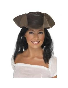 Chapeau de pirate en simili-cuir marron avec cheveux | Accessoires
