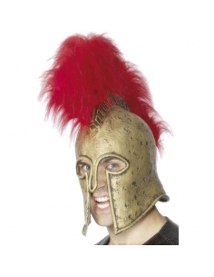Casque romain avec crête plumes rouges | Accessoires