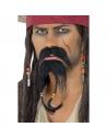 Moustaches pirate brunes avec bouc et tresses auto-adhésif | Accessoires