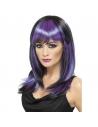Perruque sorcière glamour noir et violet   Accessoires