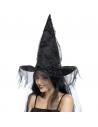 Chapeau de sorcière avec long voile noir | Accessoires