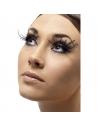 Faux-cils noirs très longues plumes avec colle | Accessoires