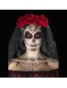 Kit Tatouage Jour des Morts Rouge et Noir (peinture à l'eau visage, crayon, applicateurs) | Accessoires