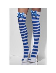 Bas rayés blanc et bleu avec nœud bleu | Accessoires