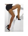 Collants sorcière adulte rayés noir/orange | Accessoires